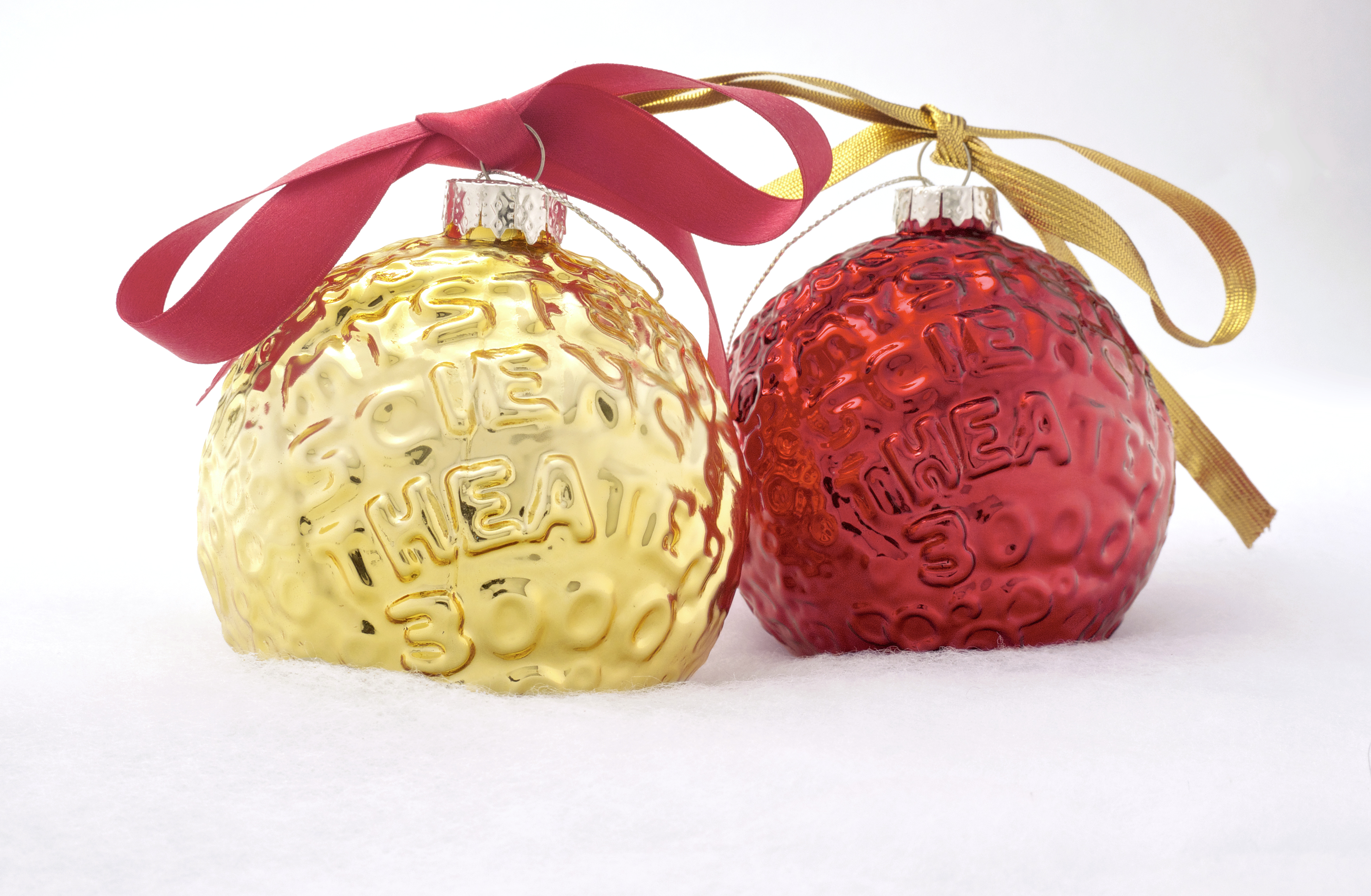 Set Of Two MST3K Moon Ornaments (Gold And Red) thumbnail